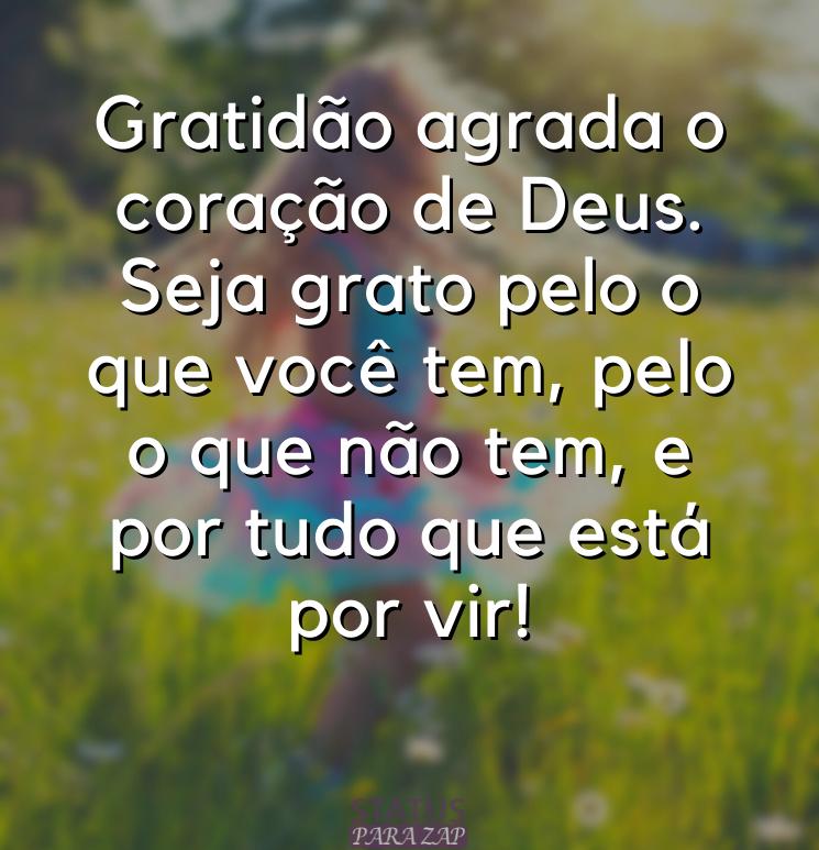 Gratidão agrada o coração de Deus