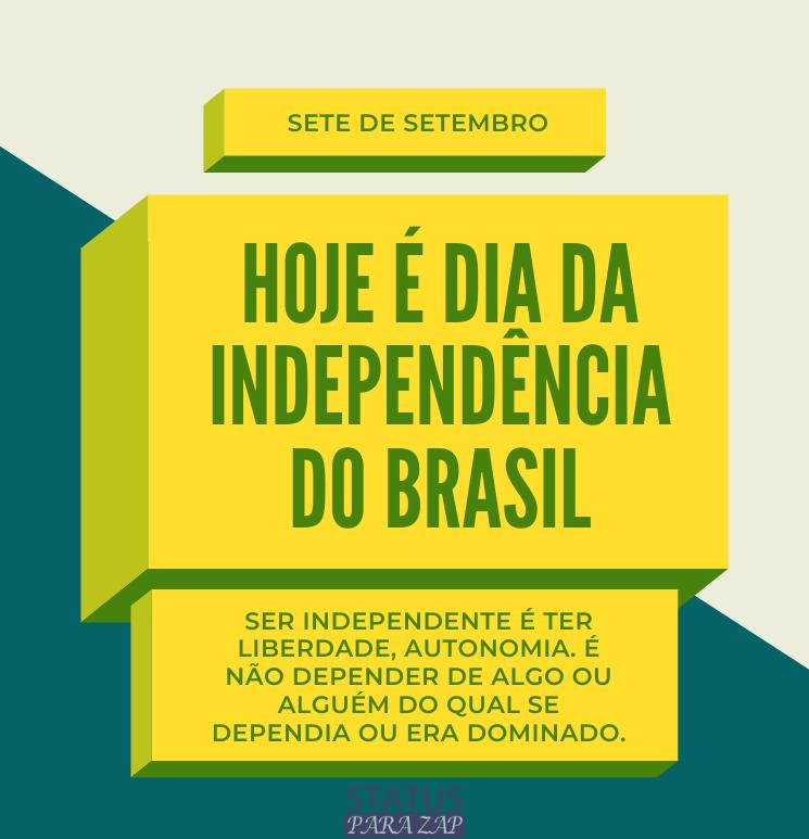 Ser independente é ter liberdade, autonomia.